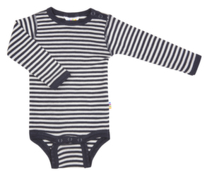 Navy stribet l/æ uld/silke body fra Joha